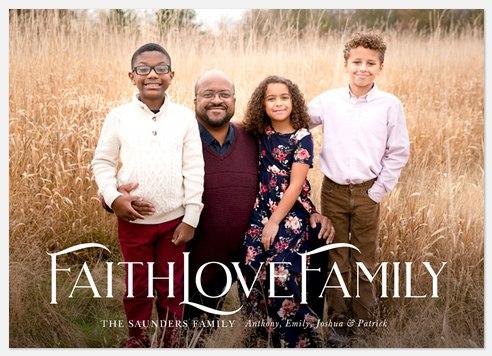 Faith, Love, Family Holiday Photo Cards