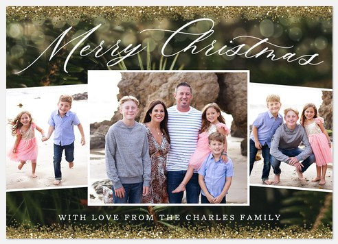 Sparkling Evergreen Holiday Photo Cards