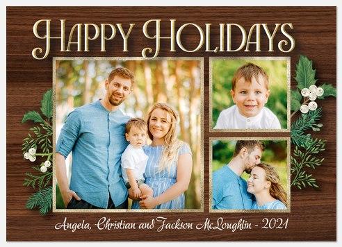 Rustic Botanical Holiday Photo Cards