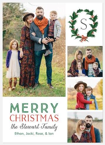 Holly Laurels Holiday Photo Cards