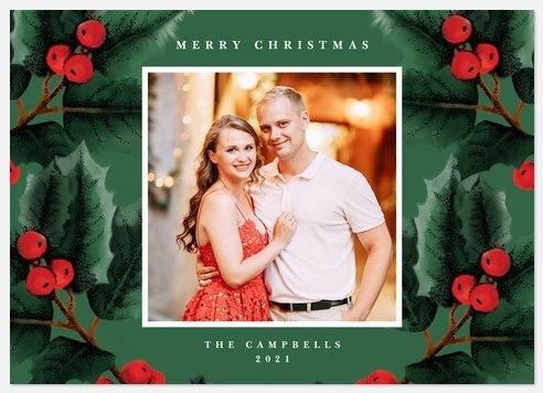 Brushed Holly Holiday Photo Cards