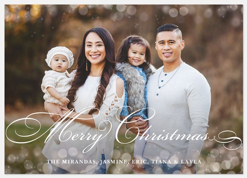 Classic Bokeh Dots Holiday Photo Cards