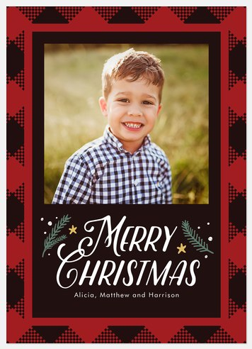 Woodland Check Holiday Photo Cards