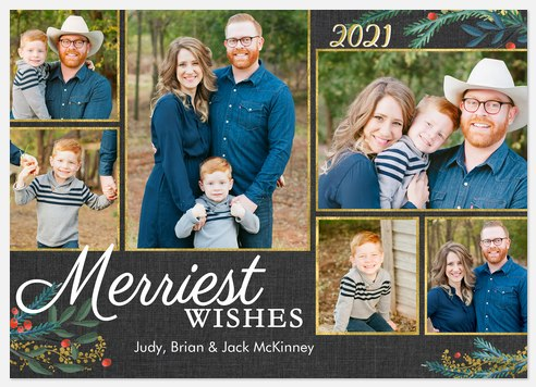 Glittered Borders Holiday Photo Cards
