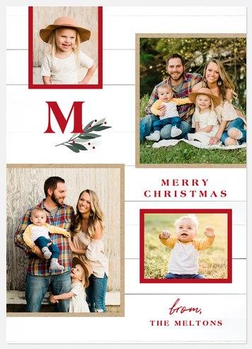 Shiplap Sprig Holiday Photo Cards