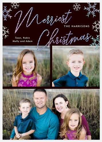 Snowy Glitter Holiday Photo Cards