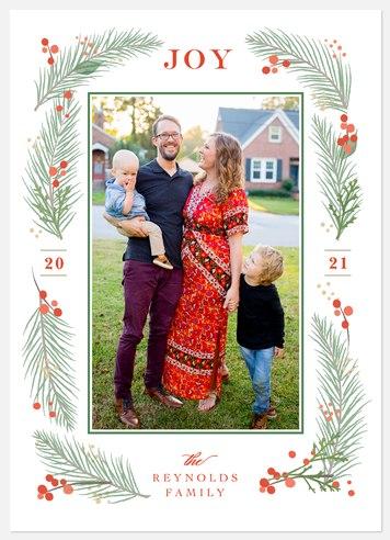 Festive Foliage Frame Holiday Photo Cards