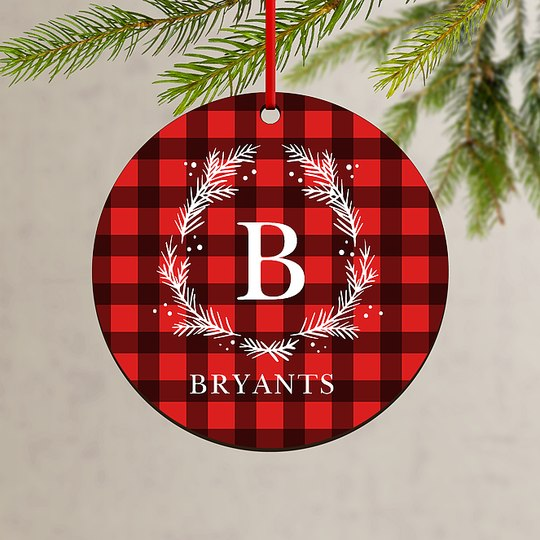 Gingham Wreath Custom Ornaments